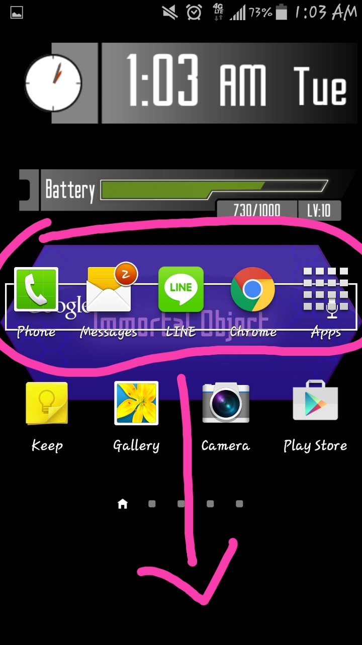 Galaxy s4 home screen bottom bar of picture.