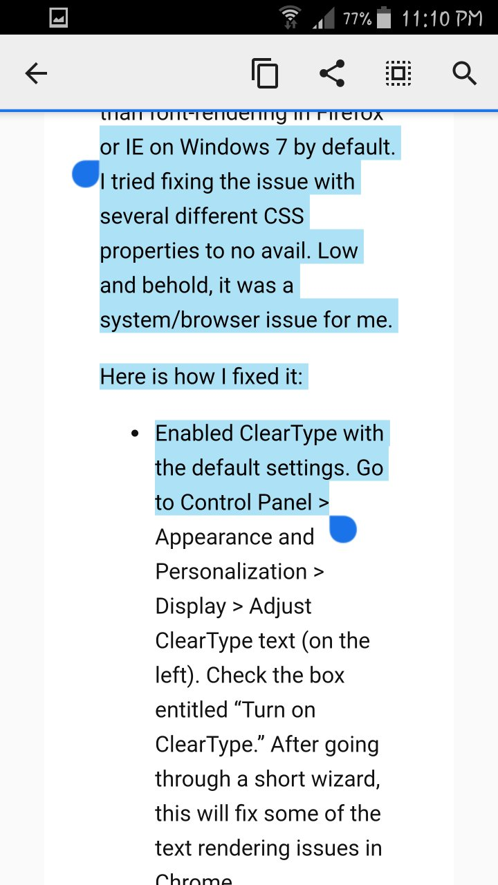 Distorted text rendering in Chrome - Android Lounge | Android Forums