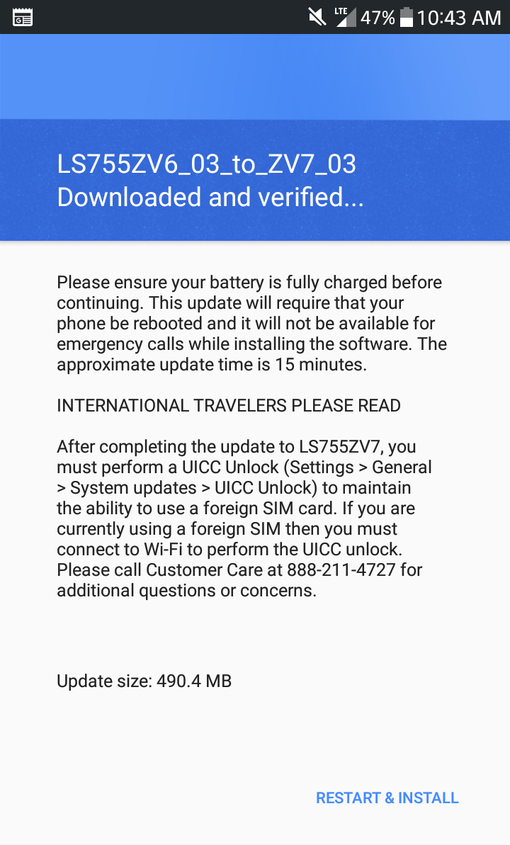 New Update Notification to LS755ZV7 - LG X Power | Android Forums