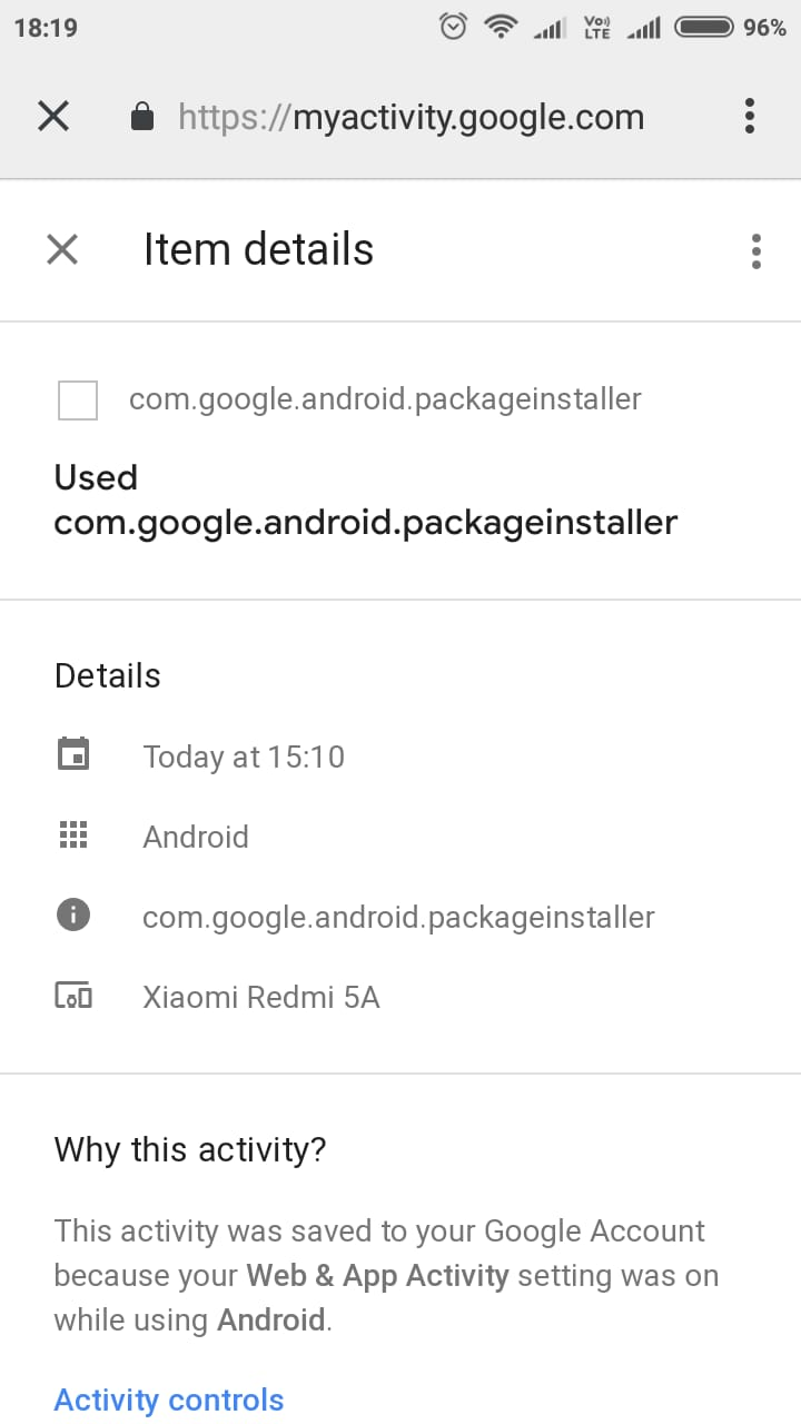 com google packageinstaller showing even when nothing