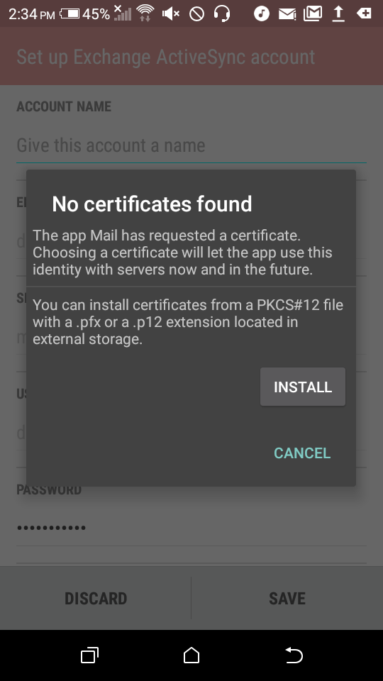 Android 51 Htc Certificate Prompt For Certificate For Microsoft