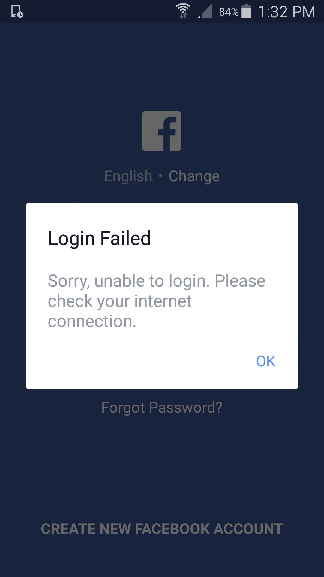 Internet works fine, but no connection to Facebook - HTC One X