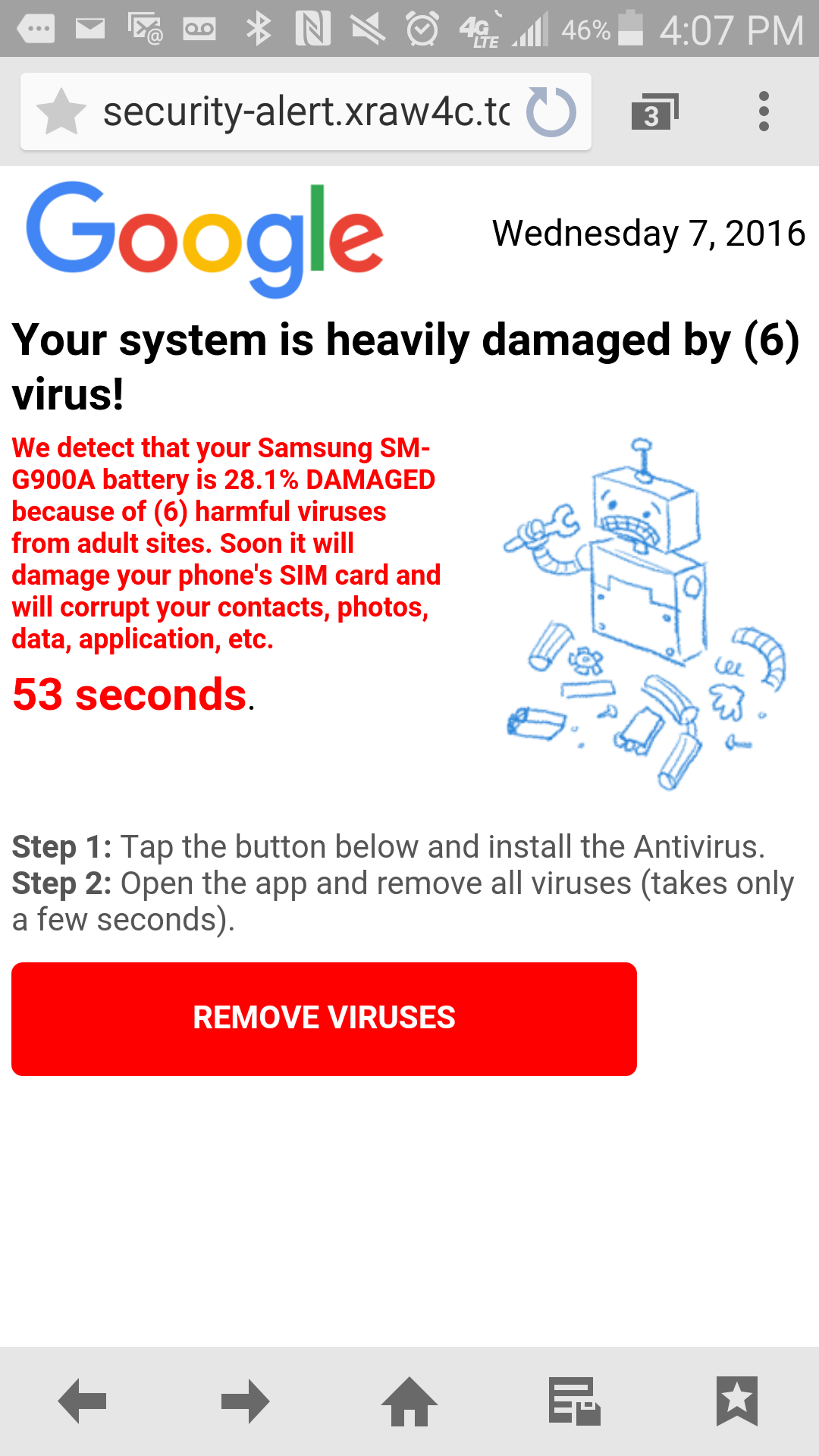getting virus warning on android